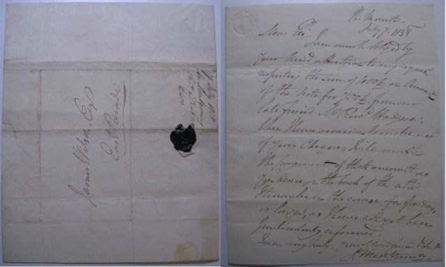 handwritten letter James Montgomery