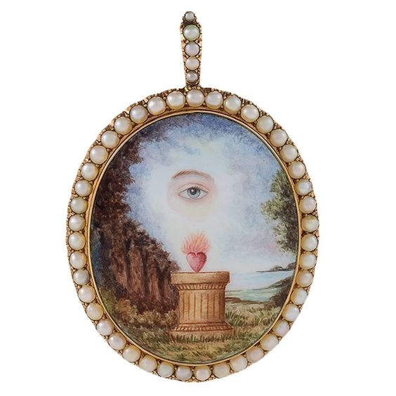 an-1800s-english-georgian-18k-gold-and-porcelain-enamel-memorial-pendant-with-half-pearls-this-unique-pendant-is-composed-of-symbolic-elements-of-memorial-jewelry
